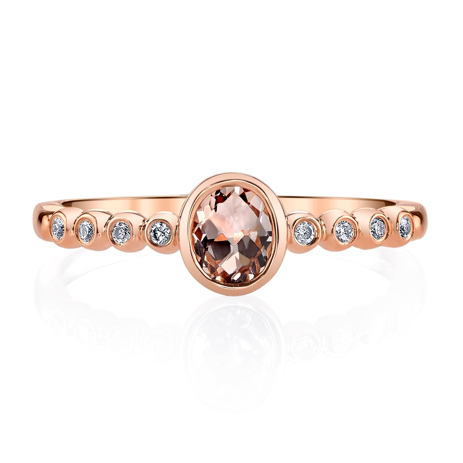 Mars Jewelry 14K Rose Gold Fashion Ring w/ Bezel Set Diamonds & Blush Pink Morganite Stone 26927