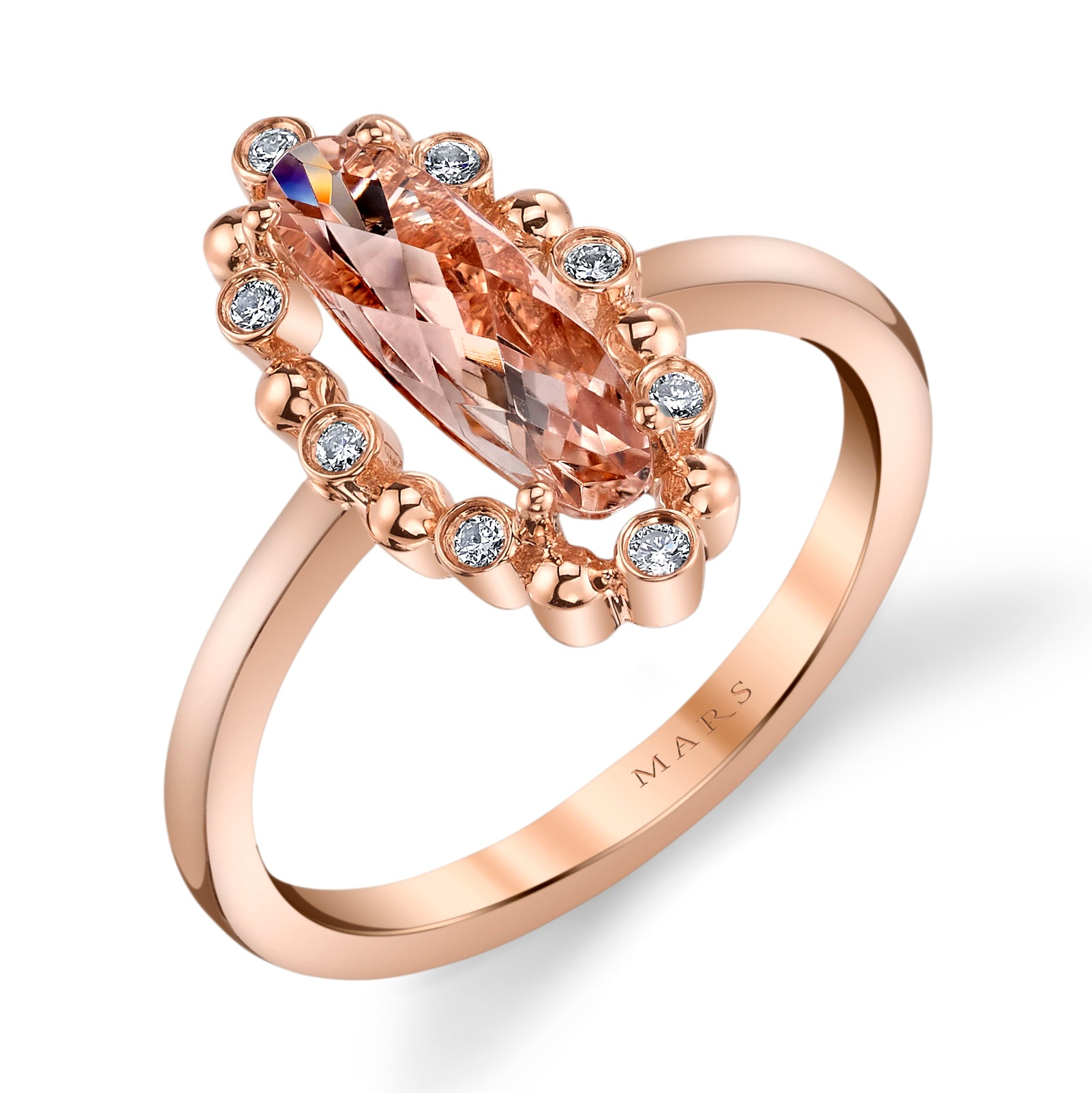 Mars Jewelry 14K Rose Gold Fashion Ring w/ Bezel Set Diamonds & Blush Pink Morganite 26932