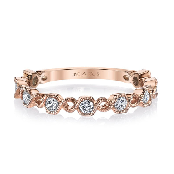 Mars Jewelry 14K Rose Gold Stackable Band w/ Milgrain Detailing 26212