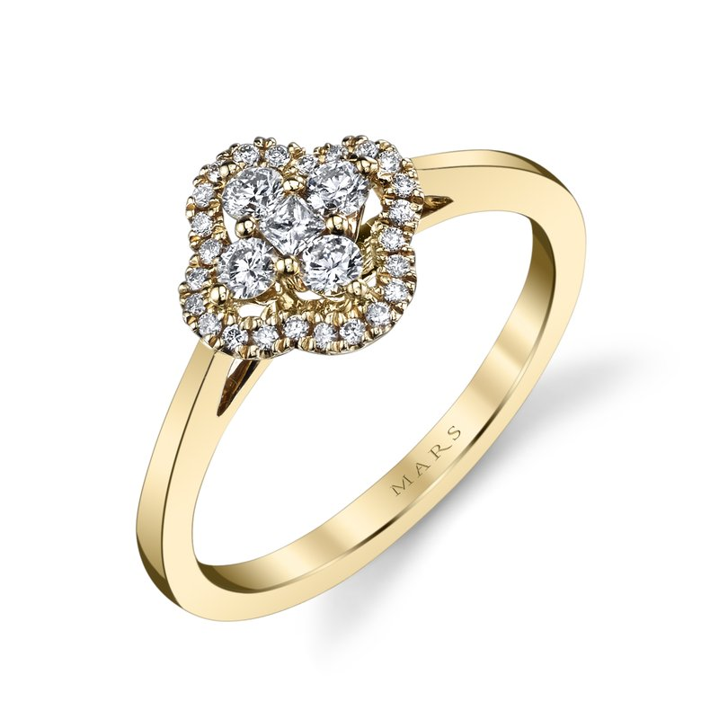 Mars Jewelry 14K Yellow Gold Fashion Ring w/ Diamond Cluster Center 26630