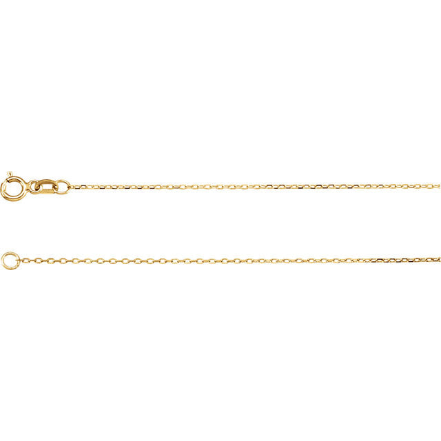 14K Gold .80mm Diamond-Cut Cable Chain with Spring Ring Closure