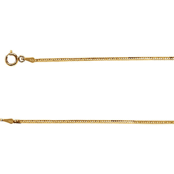 14K Gold 1.5mm Flexible Herringbone Chain with Spring Closure