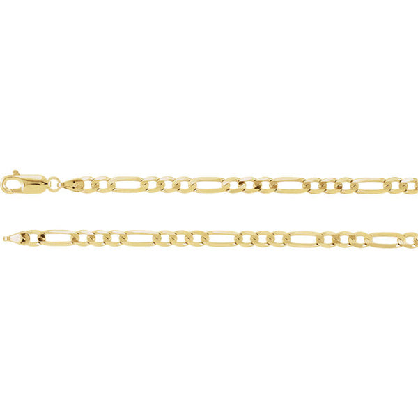 14K Gold 4mm Solid Figaro Chain with Lobster Closure