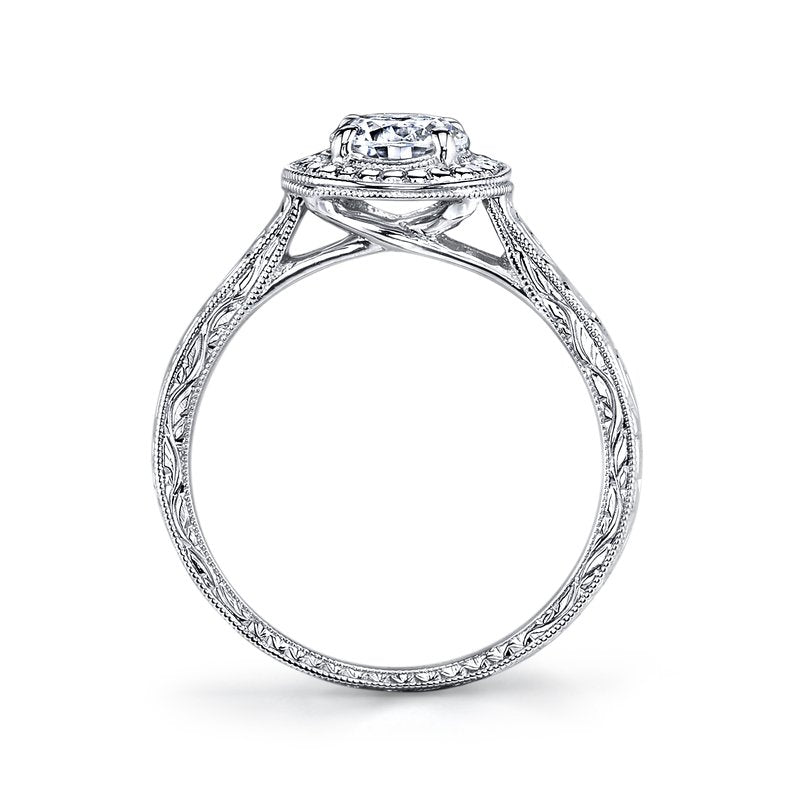 Mars Bridal Jewelry 14K White Gold Engagement Ring w/ Hand-Engraved Round Halo & Embellished Side Profile 14761HE
