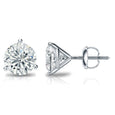 1½ Carat Round 14k White Gold 3 Prong Martini Set Diamond Solitaire Stud Earrings (Signature Quality)