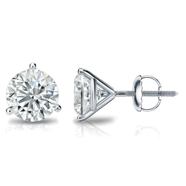 1/4 Carat Round 14k White Gold 3 Prong Martini Set Diamond Solitaire Stud Earrings (Premium Quality)