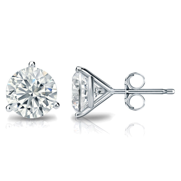 3/4 Carat Round 14k White Gold 3 Prong Martini Set Diamond Solitaire Stud Earrings (Signature Quality)