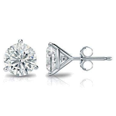 1/4 Carat Round 14k White Gold 3 Prong Martini Set Diamond Solitaire Stud Earrings (Classic Quality)