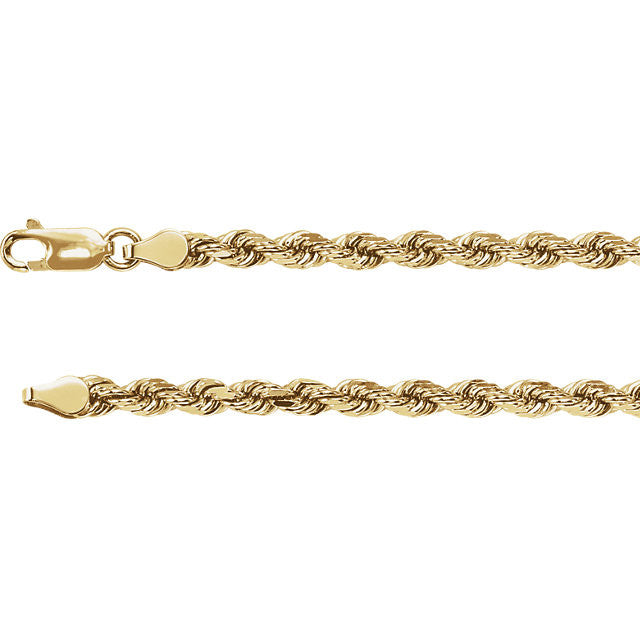 14K Gold 4mm Rope Chain with Lobster Closure