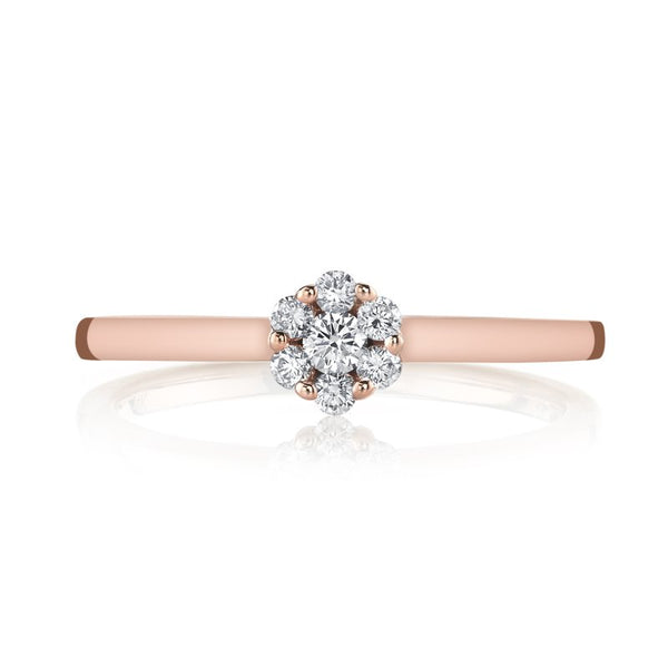Mars Jewelry 14K Rose Gold Fashion Ring w/ Diamond Cluster 26868