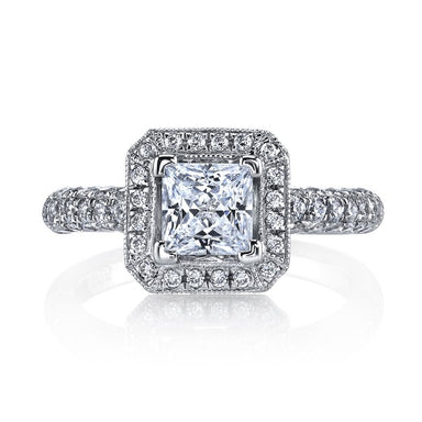 Mars Bridal Jewelry 14K White Gold Engagement Ring w/ Milgrain Detailing, Peek-A-Boo Accent Stones & Princess Halo 25632