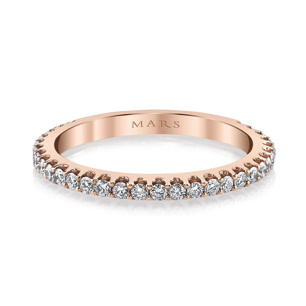 Mars Jewelry 14K Rose Gold Diamond Stackable Band 26156