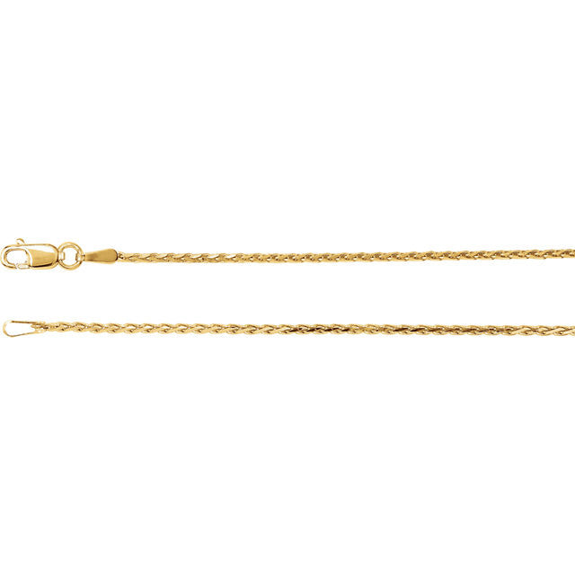 14K Gold 1.5mm Diamond-Cut Wheat Chain with Lobster Closure