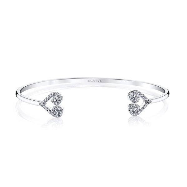 Mars Jewelry 14K White Gold Cuff Bracelet w/ Heart Shaped Diamond Accents 26552