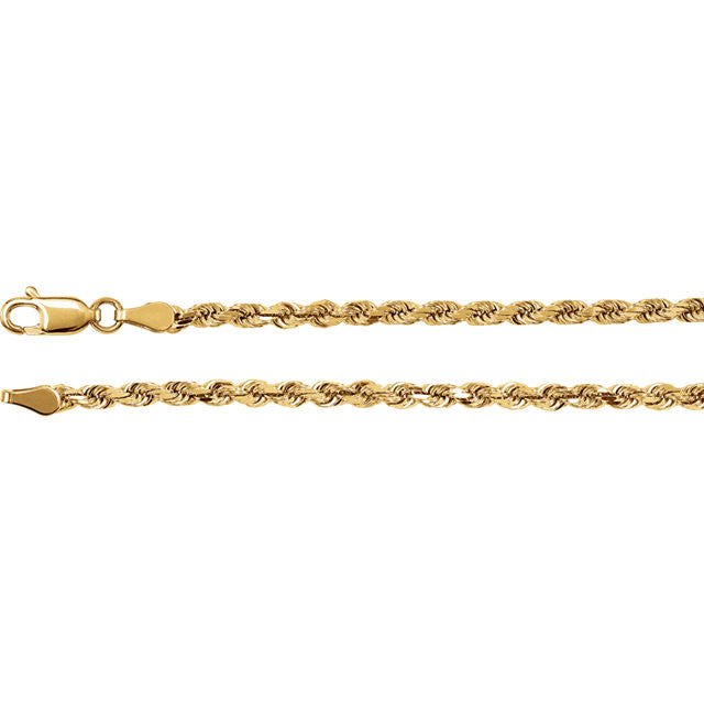 14K Gold 2.8mm Diamond-Cut Rope Chain with Lobster Closure