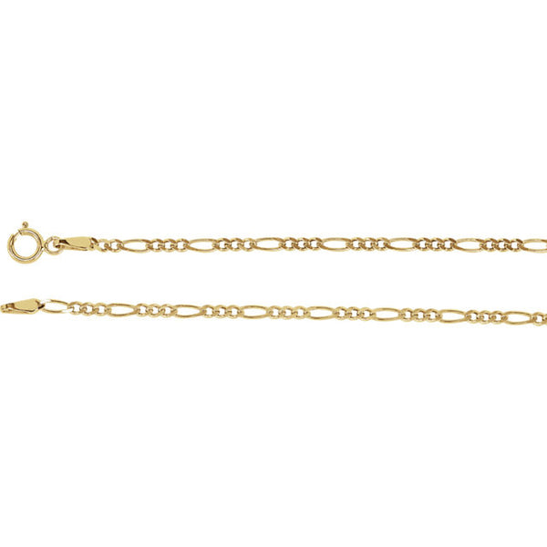 14K Gold 2mm Solid Figaro Chain with Spring Ring Closure