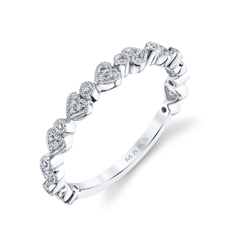 Mars Jewelry 14K White Gold Stackable Band w/ Heart Shape Accents 26623