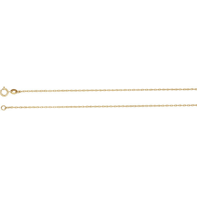 14K Gold 1mm Solid Rope Chain with Spring Ring Closure