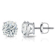 1/2 Carat Round 14k White Gold 4 Prong Basket Set Diamond Solitaire Stud Earrings (Classic Quality)