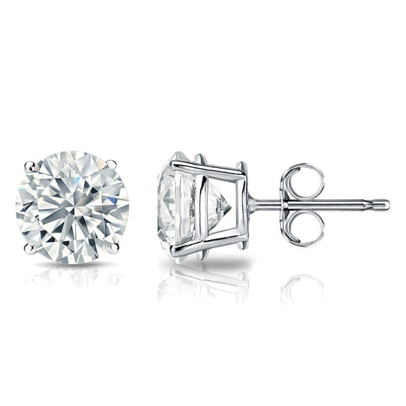 3/4 Carat Round 14k White Gold 4 Prong Basket Set Diamond Solitaire Stud Earrings ( Premium Quality)