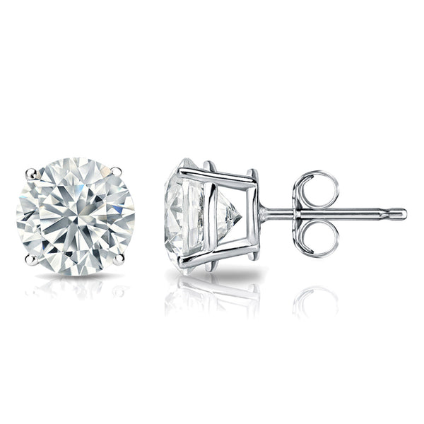 1½ Carat Round 14k White Gold 4 Prong Basket Set Diamond Solitaire Stud Earrings (Classic Quality)