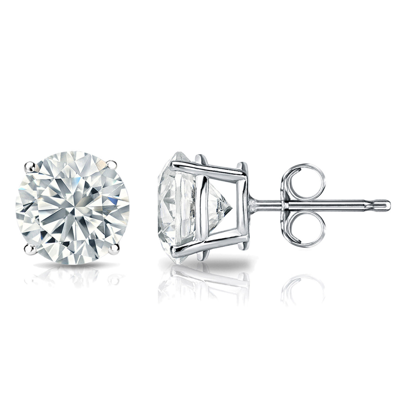 3/4 Carat Round 14k White Gold 4 Prong Basket Set Diamond Solitaire Stud Earrings (Signature Quality)