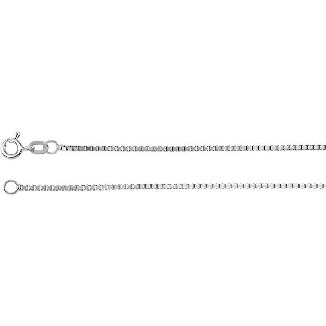 14K Gold 1.3mm Box Chain with Spring Ring Closure