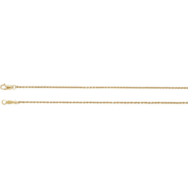 14K Gold 1mm Diamond-Cut Rope Chain with Lobster Closure