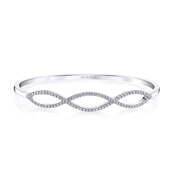 Mars Jewelry 14K White Gold Bangle Bracelet w/ Infinity Shaped Diamonds 26553