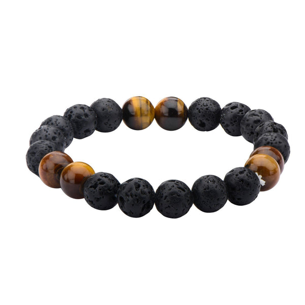 "Inox Jewelry 10mm Black Lava & Brown Tiger Eye 8.5"" Bead Bracelet BR137"