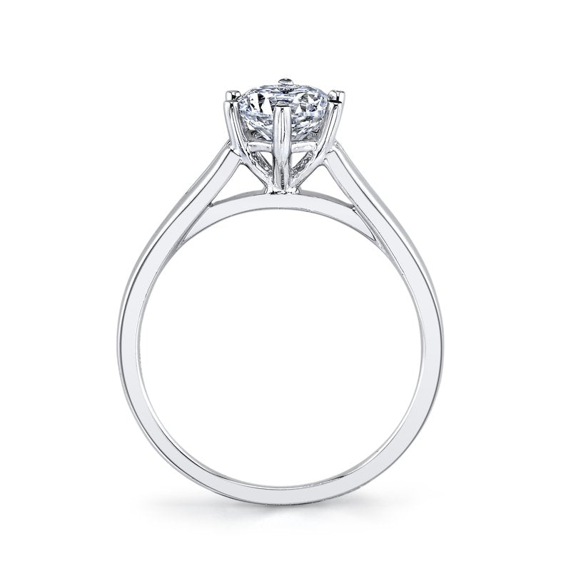 Mars Bridal Jewelry 14K White Gold Solitaire Engagement Ring w/ Split High Polish Shank 26511