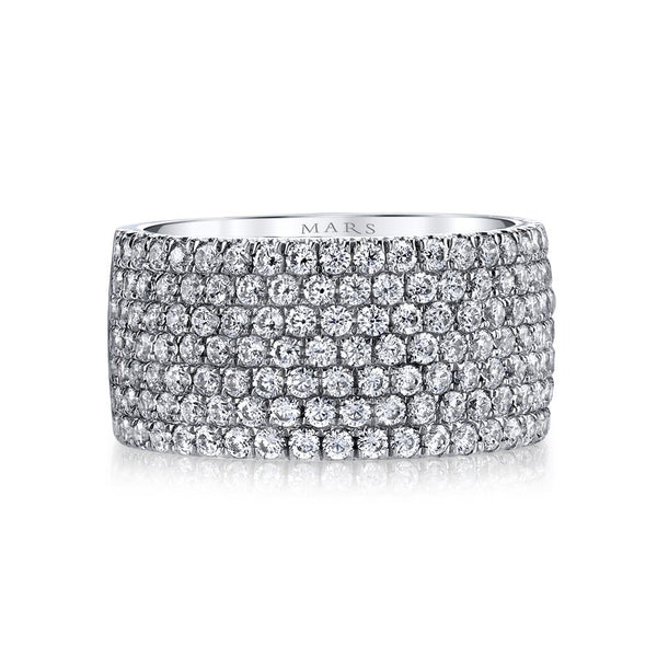 Mars Jewelry 14K White Gold Diamond Stackable Band BE-54