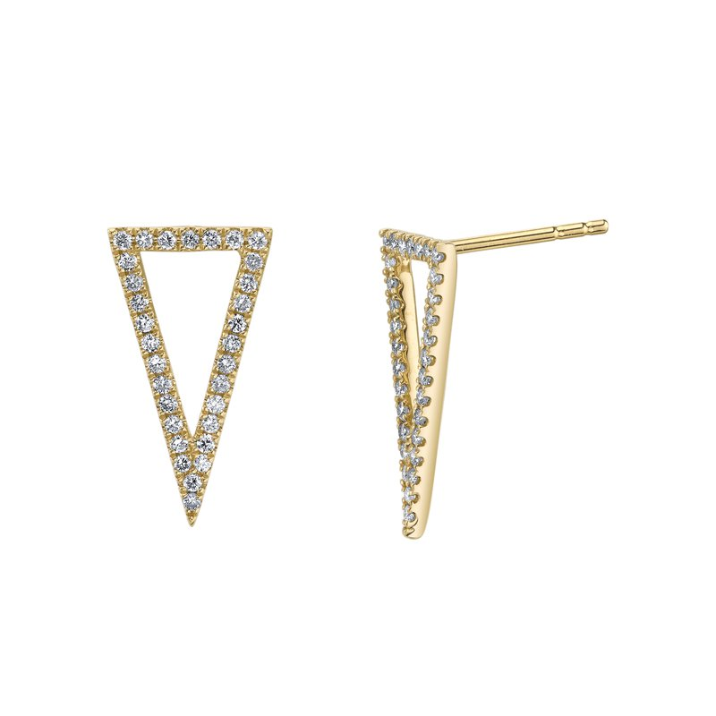Mars Jewelry 14K Yellow Gold Geometric Fashion Studs w/ Diamonds 26838