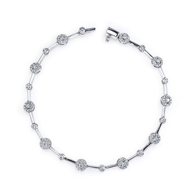 Mars Jewelry 14K White Gold Fashion Bracelet w/ Bezel Set Diamonds 26743