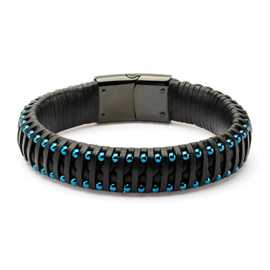 "Inox Jewelry Black Leather with Blue Plated Ball Edge 8.5"" Bracelet BRLS014"