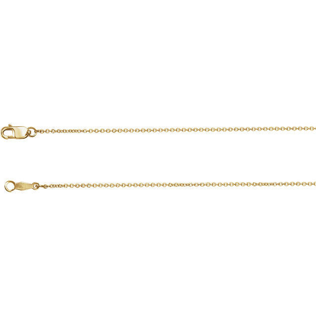 14K Gold 1mm Solid Cable Chain with Lobster Closure