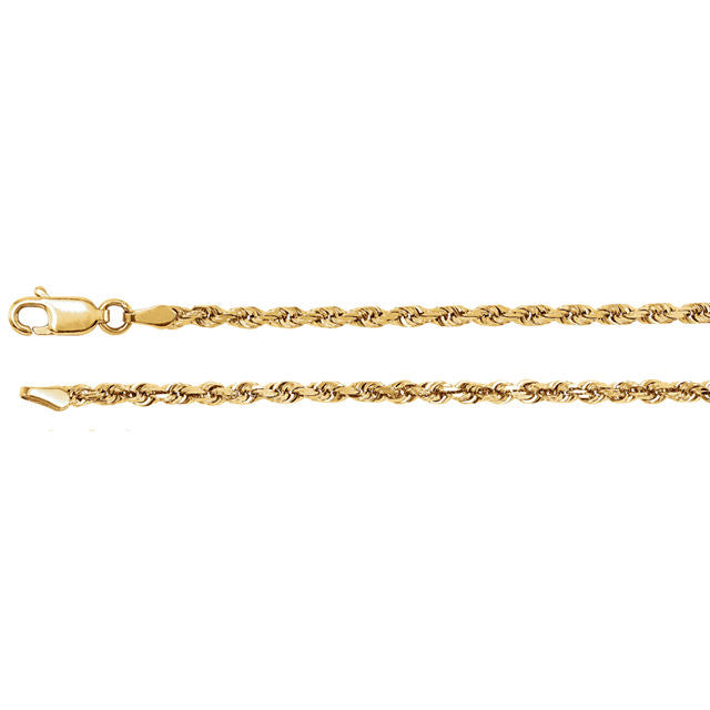 14K Gold 2.5mm Diamond-Cut Rope Chain with Lobster Closure