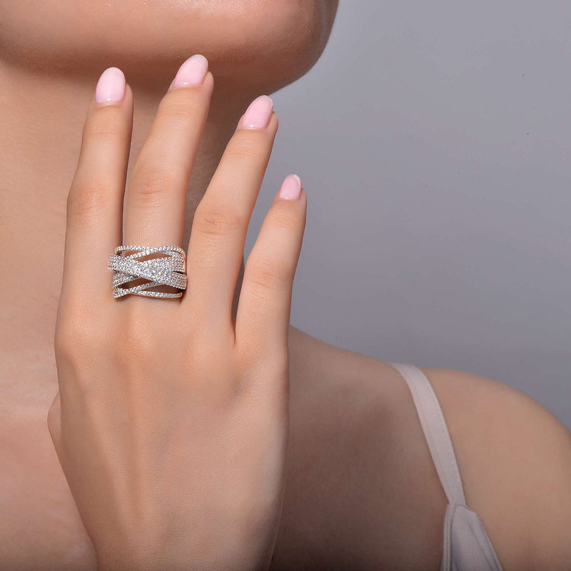 Lafonn Signature Lassaire Simulated Diamond Luxurious Multiple Crossing Ring 7R012CLP05