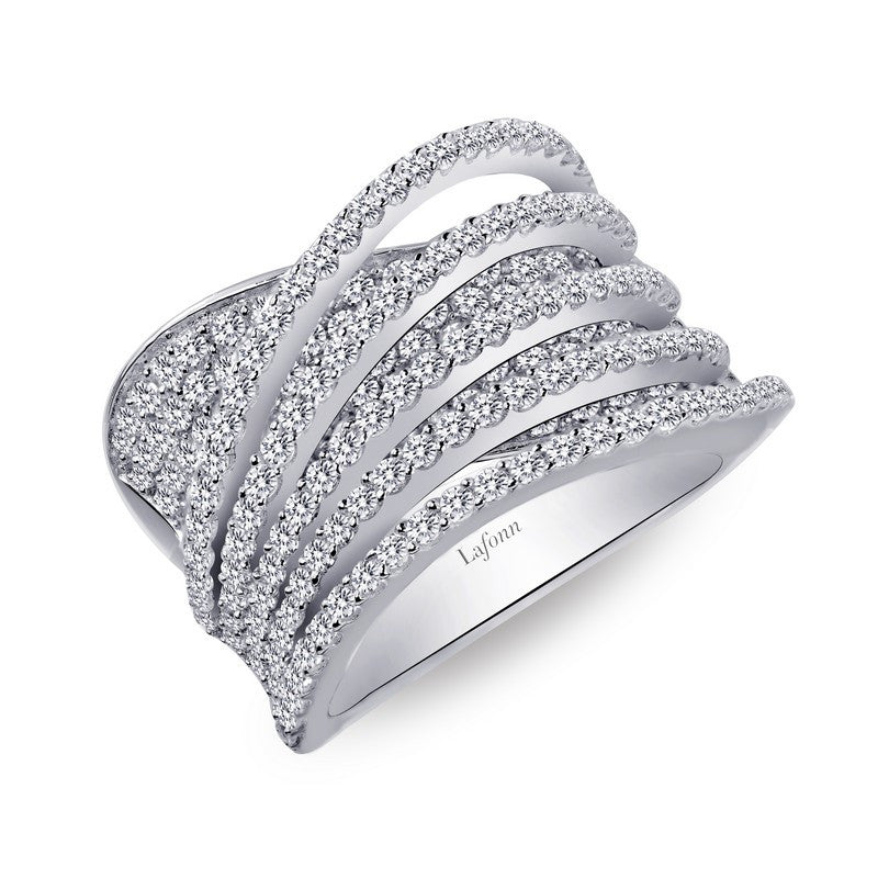 Lafonn Signature Lassaire Simulated Diamond Luxurious Multiple Crossing Ring 7R013CLP05