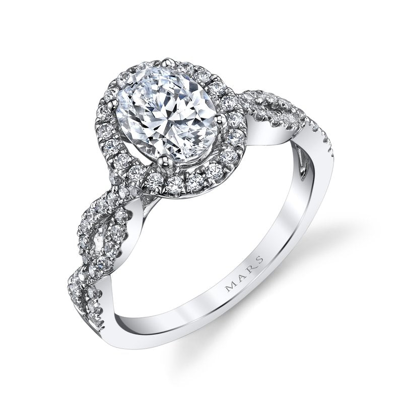 Mars Bridal Jewelry 14K White Gold Engagement Ring w/ Interwoven Diamond Shank & Oval Diamond Halo 25366