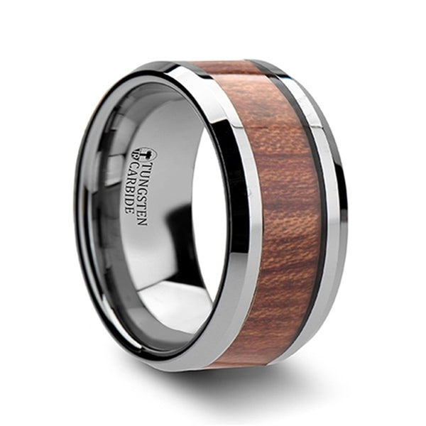 Thorsten KODIAK Beveled Tungsten Carbide Ring with Rosewood Inlay(6-10mm) W122-RWIT