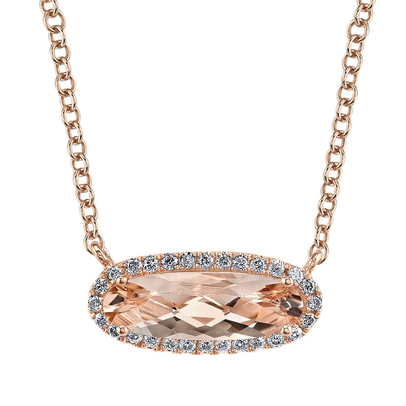Mars Jewelry 14K Rose Gold Gemstone Necklace w/ Diamonds & Blush Pink Morganite 26922