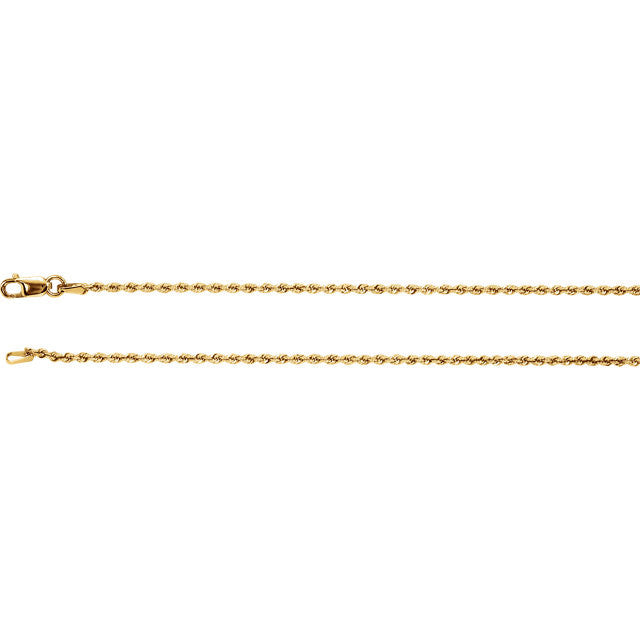 14K Gold 1.5mm  Rope Chain with Lobster Closure
