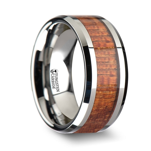 Thorsten Khaya Tungsten Band w/ Polished Bevels & Exotic Mahogany Hard Wood Inlay(6-10mm) W1895-MHWI