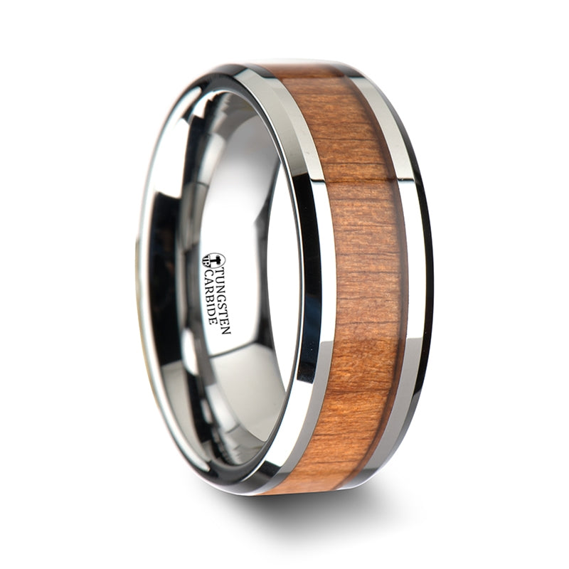 Thorsten Brunswick Tungsten Wedding Ring w/ Polished Bevels & Black Cherry Wood Inlay(6-10mm) W1893-CRWI