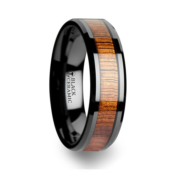 Thorsten Acacia Koa Wood Inlaid Black Ceramic Ring w/ Bevels (4-10mm) C1958-KOWI