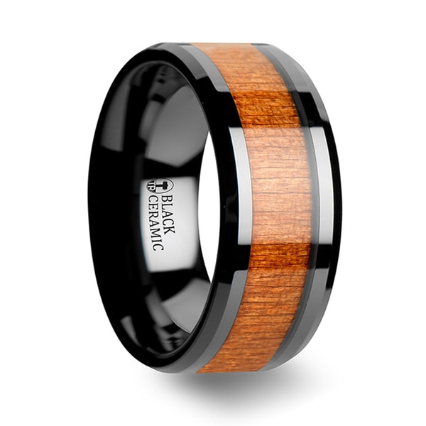 Thorsten Iowa Black Ceramic Wedding Ring w/ Polished Bevels & Black Cherry Wood Inlay(6-10mm)C1965-CRWI