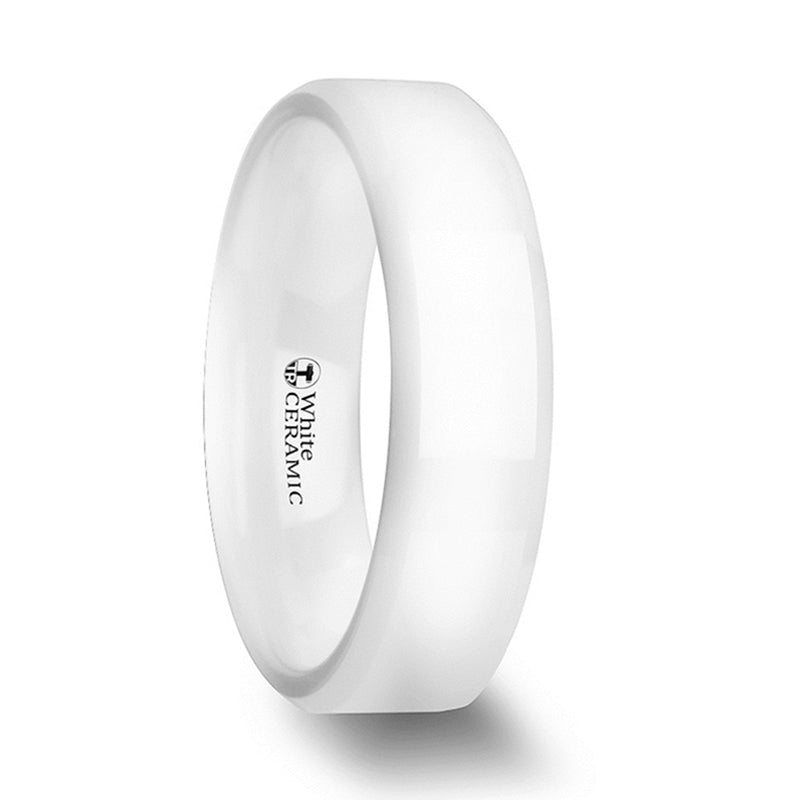 Thorsten Glacier White Ceramic Wedding Band w/ Beveled Edges & Polished Finish(6-8mm)C1973-BPBE