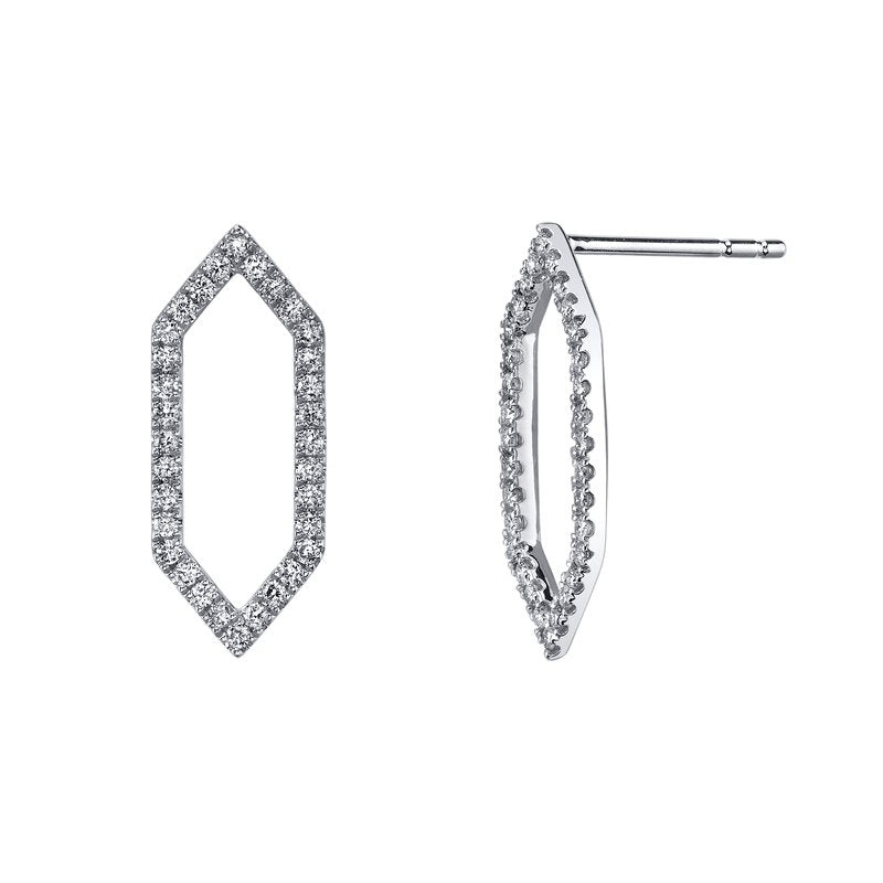 Mars Jewelry 14K White Gold Geometric Fashion Studs w/ Diamonds 26841