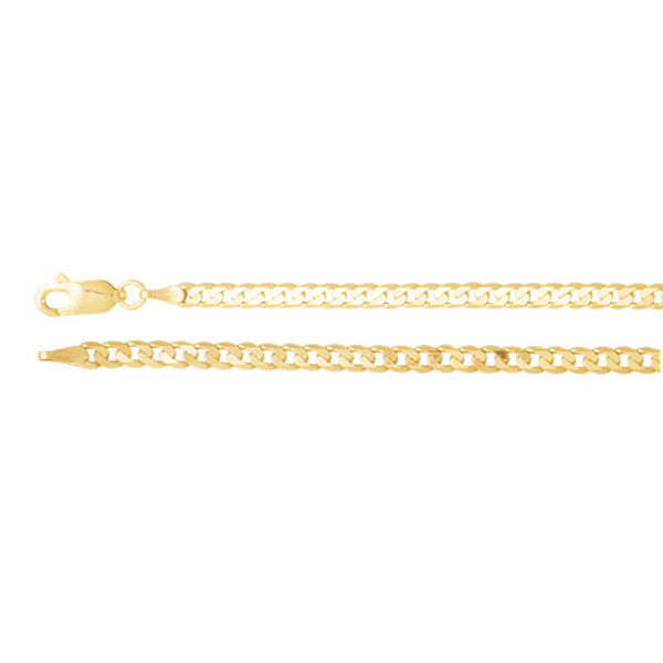 14K Gold 3mm Solid Curb Chain with Lobster Closure